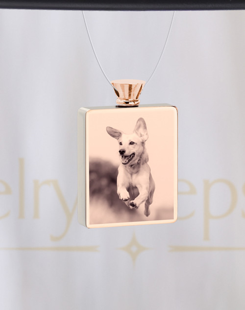 Photo Engraved Rectangle Rose Gold Plated Pet Ash Reflection Pendant
