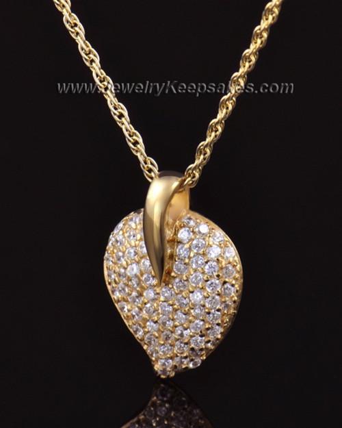 Memorial Locket 14K Gold Blaze Heart