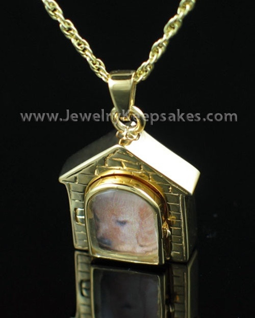 Pet Urn Jewelry Gold Vermeil Dog House Keepsake