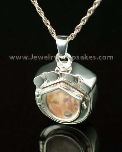 Cremation Pet Locket 14K White Gold Photo Paw Keepsake
