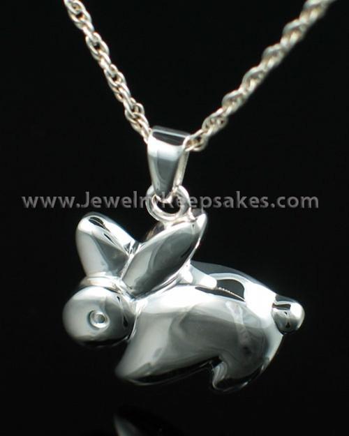Funeral Jewelry Sterling Silver Rabbit Keepsake