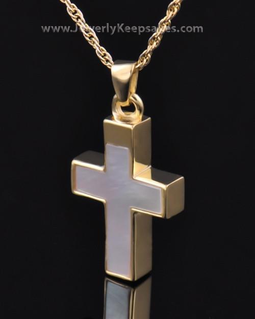 Memorial Keepsake Jewelry Gold Vermeil Pearly Cross