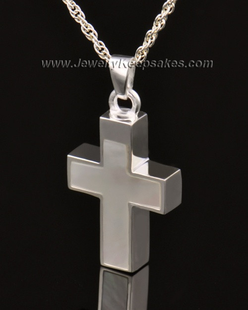 Memorial Keepsake Jewelry Solid 14K White Gold Pearly Cross
