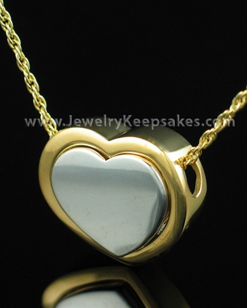 Cremation Ash Jewelry Sterling Two Tone Double Companion Heart Keepsake