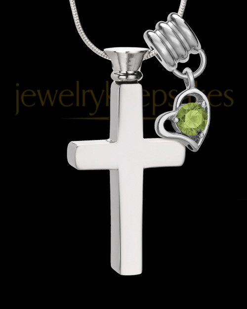 Stainless Cremains Locket August Memorable Cross - Eternity Collection
