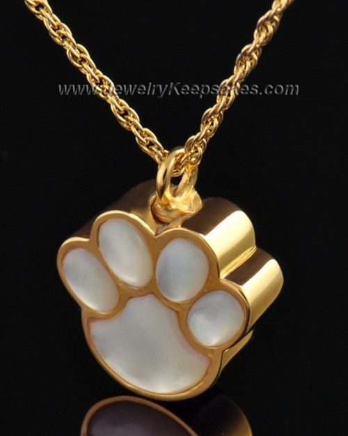 Pet Necklace Urn Gold Vermeil Pearly Paw Keepsake