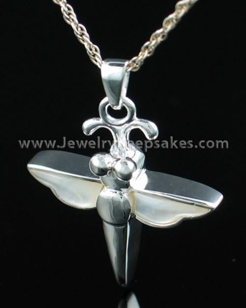 Sterling Silver Cremation Necklace Silver Dewy Dragon Keepsake