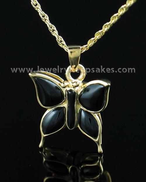 Memorial Necklace Gold Vermeil Night Butterfly Keepsake