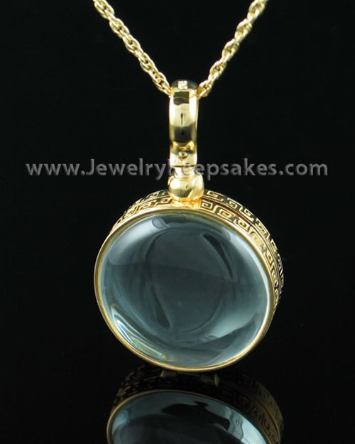 Keepsake Jewelry Gold Vermeil Round Glass Pendant