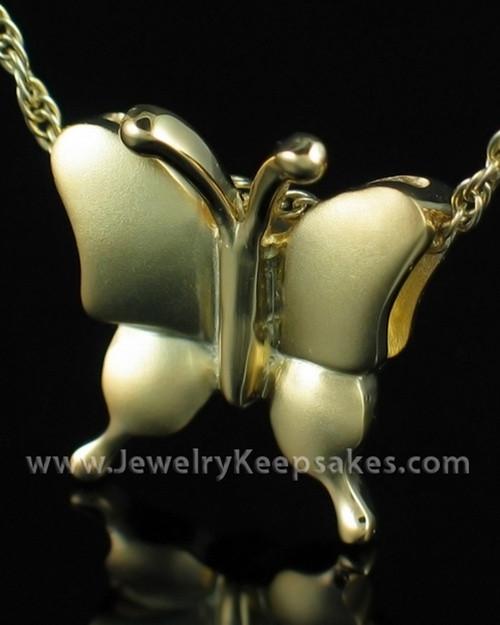Cremation Necklace Gold Plated Butterflies Keepsake