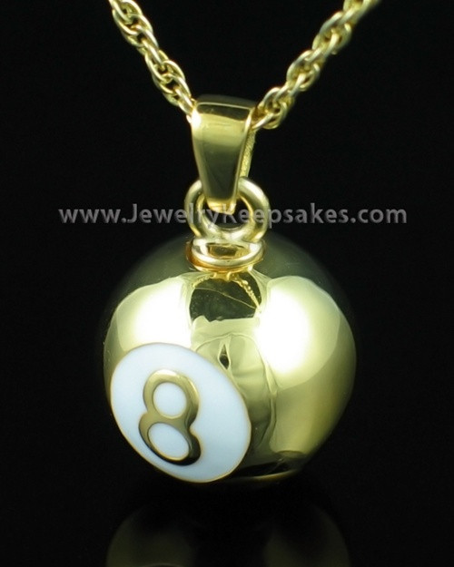 Gold plated eight ball cremation urn necklace comes with a chain eight ball keepsake memory pendant gold plated aloadofball Gallery