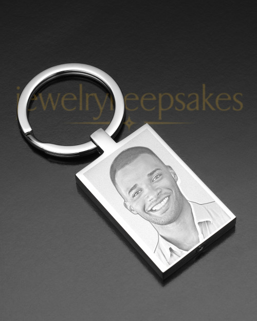 Stainless Rectangle Cremation Keychain