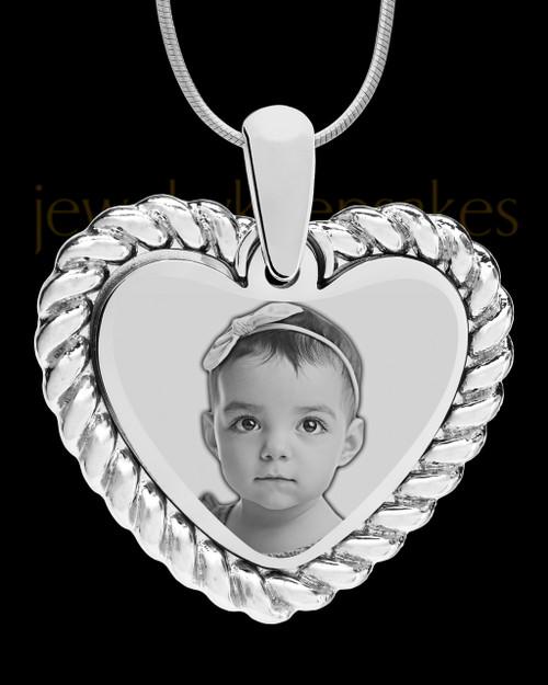 Silver Framed Heart Photo Engraved Pendant