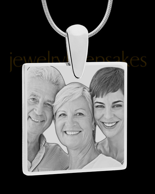 Silver Perfect Square Photo Engraved Pendant