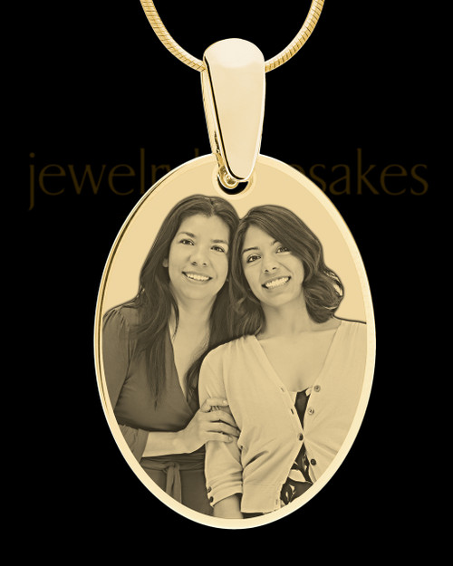 Gold Large Oval Photo Engraved Pendant