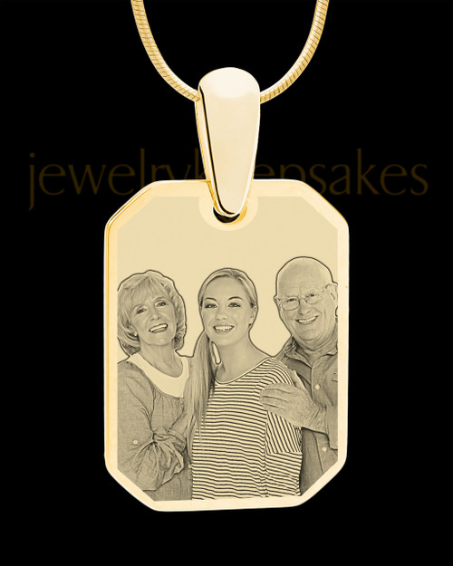Gold Octagon Photo Engraved Pendant