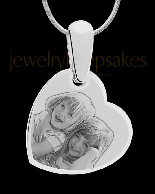 Silver Side Heart Photo Engraved Pendant