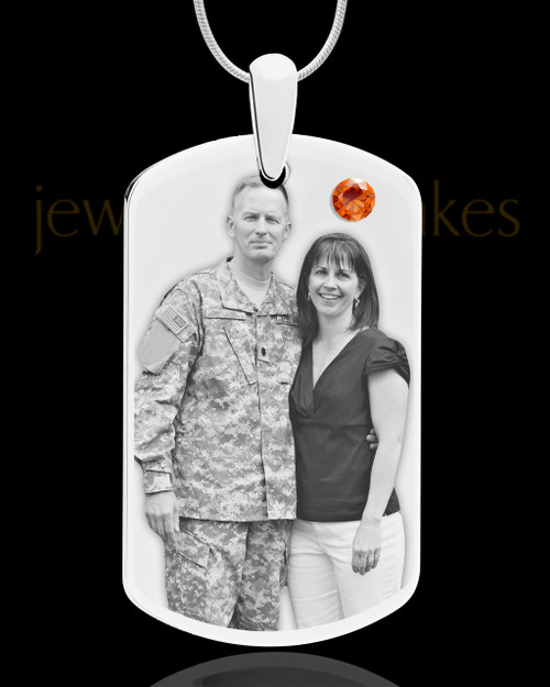 November Birthstone Dog Tag Stainless Photo Pendant