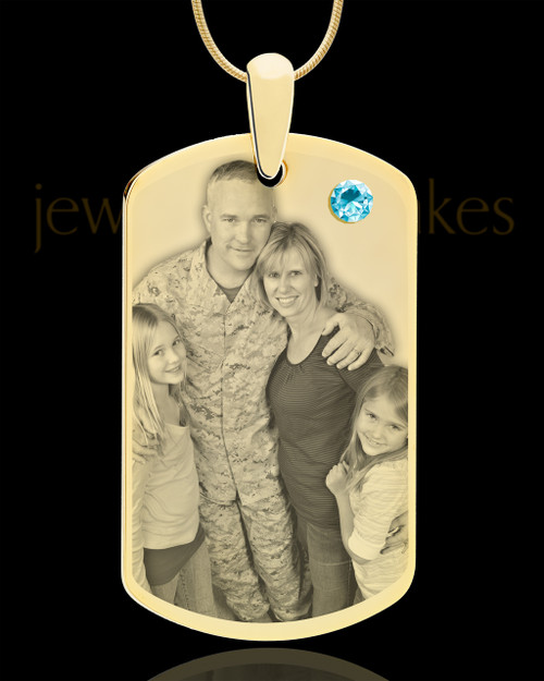 March Gold Dog Tag Photo Pendant