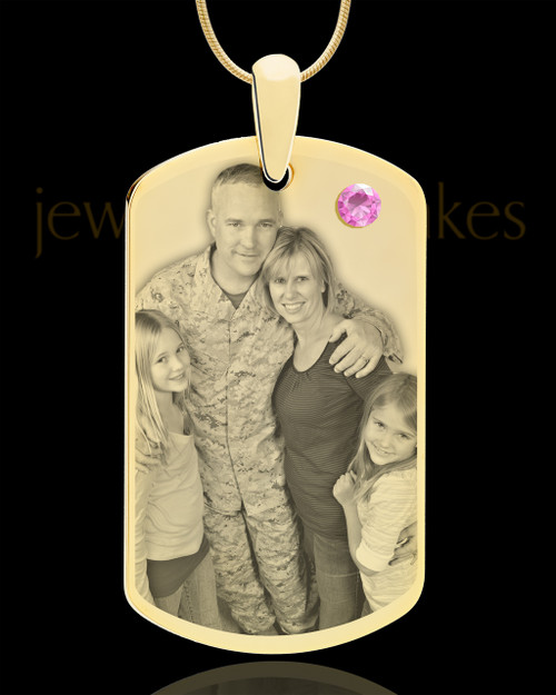 June Gold Dog Tag Photo Pendant