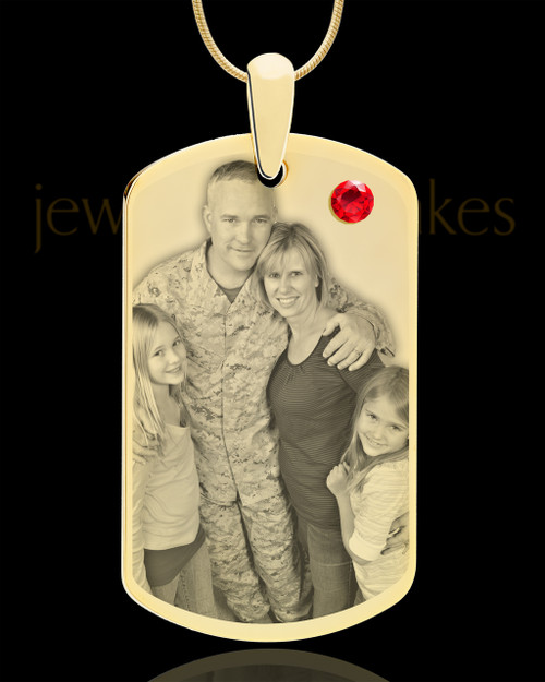 July Gold Dog Tag Photo Pendant