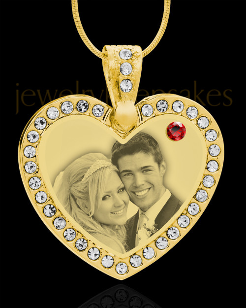 January Gold Gem Heart Birthstone Photo Engraved Pendant