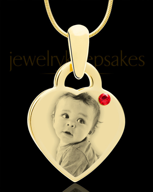 July Gold Small Photo Engraved Heart Pendant