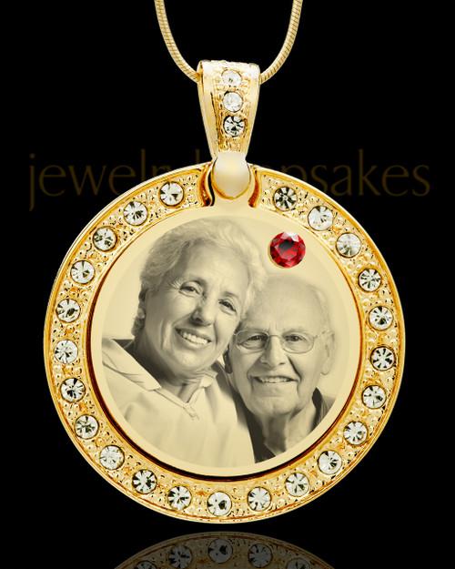 January Gold Gem Circle Birthstone Photo Pendant