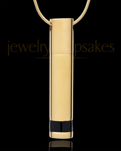 Cremains Pendant Gold Plated Courageous Cylinder - Eternity Collection