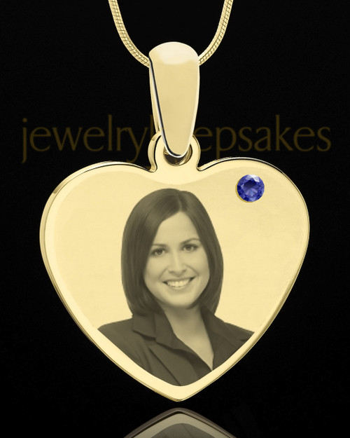September Gold Heart Photo Engraved Pendant