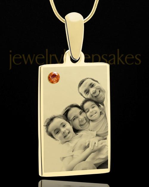 November Rectangle Gold Plated Photo Engraved Pendant