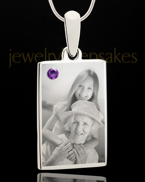 Photo Engraved February Birthstone Rectangle Pendant