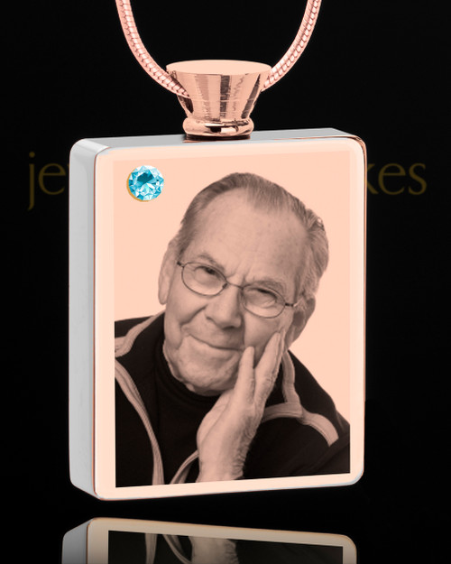 March Rose Gold Plated Photo Engraved Rectangle Cremation Pendant
