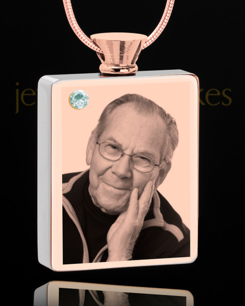 April Rose Gold Plated Photo Engraved Rectangle Cremation Pendant