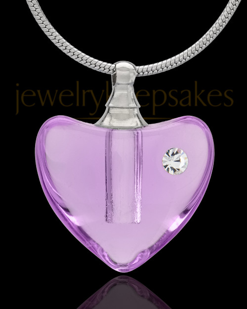 Violet So Loved Glass Cremation Jewelry