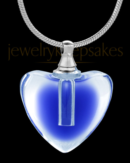 Blue Glass Beating Heart Cremation Pendant
