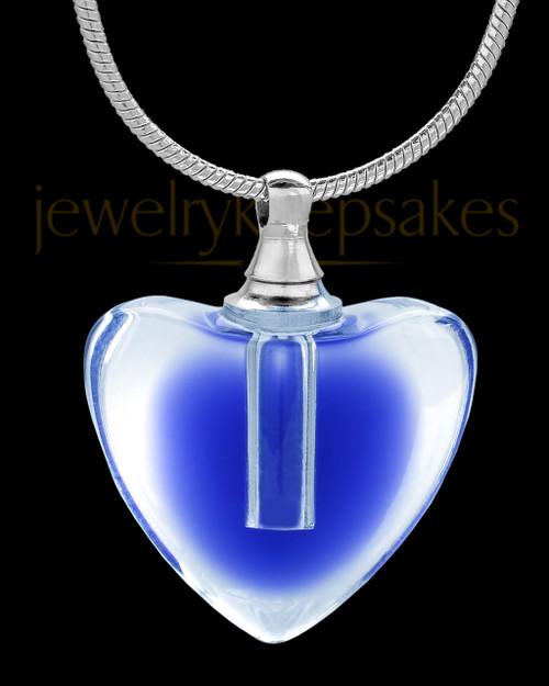 Blue inside blue glass heart in heart cremation pendant blue glass beating heart cremation pendant aloadofball Gallery