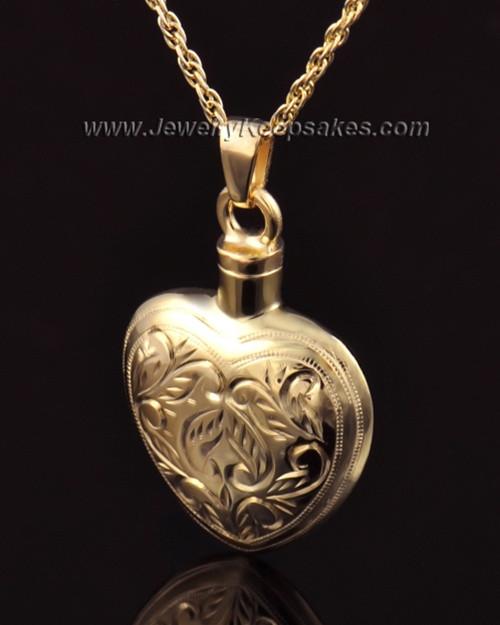 Memorial Locket Etched Heart 14k Gold