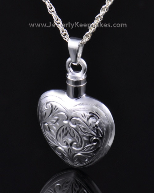 Memorial Locket Etched Heart - Sterling Silver