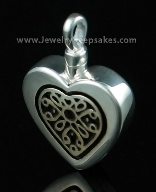 Funeral Jewelry Heart with Sterling Silver Insert