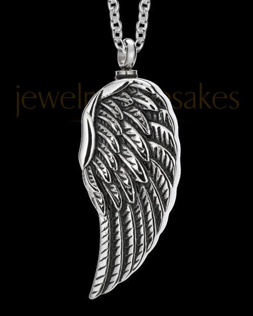 Men's Stainless Steel Feathers Cremation Jewelry