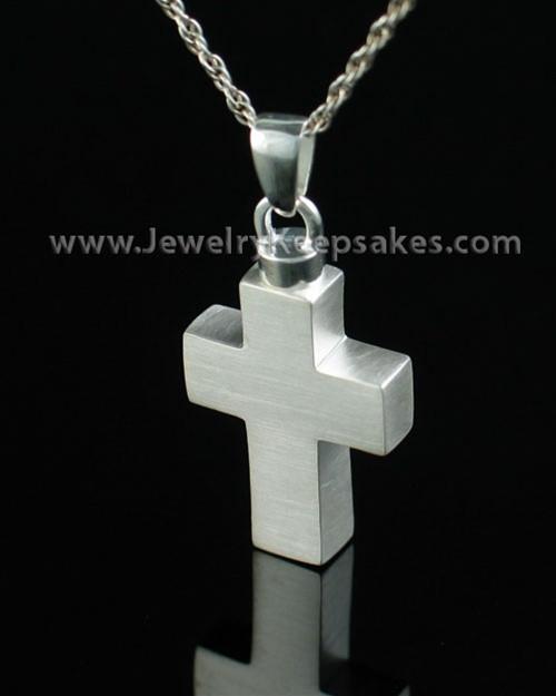 Cremation Urn Necklace Sterling Silver Medium Cross