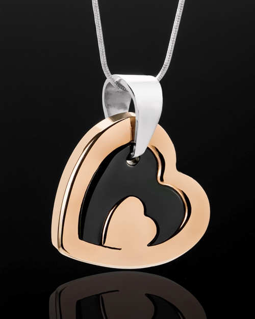 Cremation Keepsake Stainless Rose Gold Candid Heart