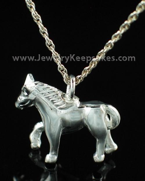Cremation Pet Locket Sterling Silver Horse