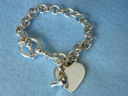 Sterling Silver Pet Urn Pendant Bracelet - Cat