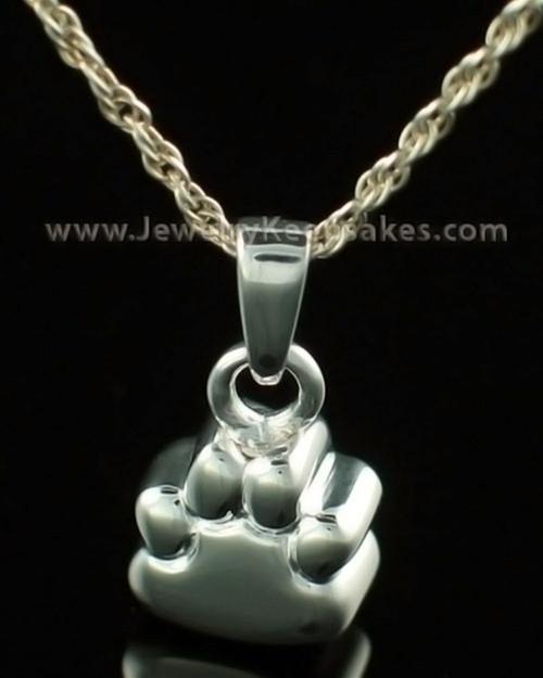 Pet Memorial Jewelry 14K White Gold Paw