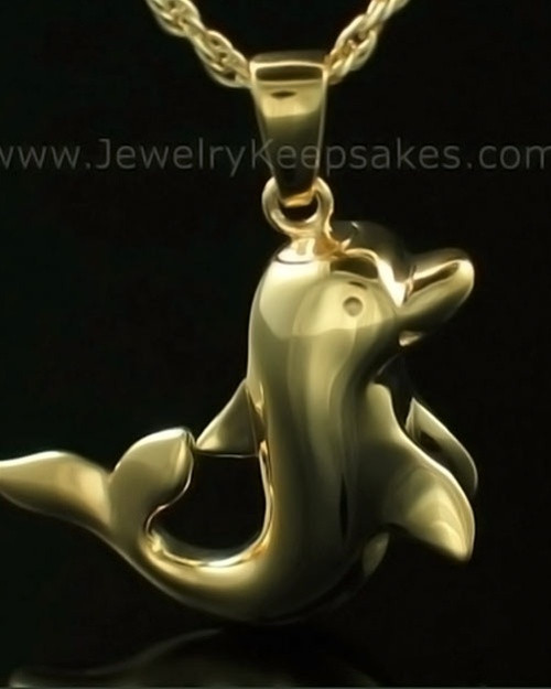 Cremation Charm Solid 14K Gold Dolphin