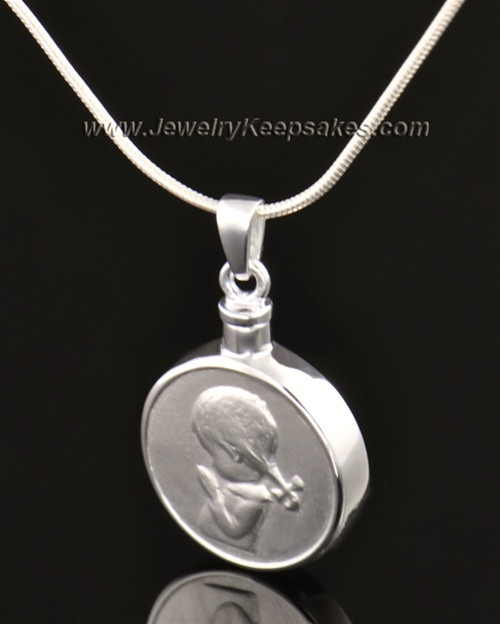 14k White Gold Necklace Urn Girl