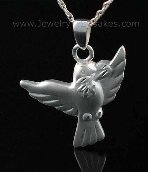 Urn Pendant Sterling Silver Dove Open Wings