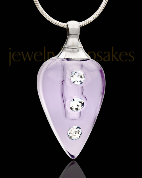 Jewelry Urn Lavender Joyful Glass Locket